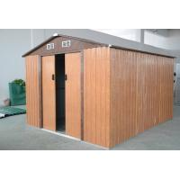 China Wood Color Medium Galvanized Steel Metal Garden Shed , Modular Garden Shed Kits 10x8 ft on sale