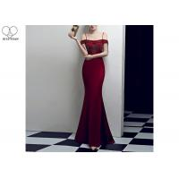 Wholesale Sling Sexy Burgundy Mermaid Style Prom Dress Off Shoulder Short Sleeve Tassels from china suppliers