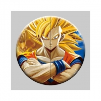 Wholesale Round 5x5cm 3D Flip Lenticular Anime Pins With Goku from china suppliers