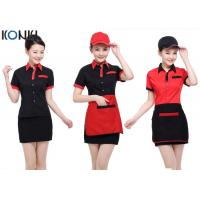 Wholesale Red And Black Color Restaurant Shirts Uniforms For Waitresses from china suppliers
