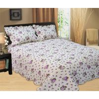 Wholesale Purple Flowers Full Size Bed Sets Soft Comfortable With 100% Polyester Material from china suppliers