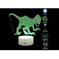 China Dinosaur Toys 3d Illusion Table Lamp / 3d Led Colour Changing Lamp For Boyes Bedroom on sale