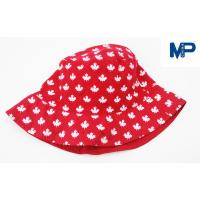 China Fashion 100% Polyester Printed Bucket Hats , Floral Bucket Hat Red Color on sale