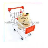 Wholesale Small Supermarket Shopping Trolley with advertisement board in red and metal base in chrome from china suppliers