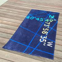 Wholesale Multi Stripe Navy Printed Beach Towels With Longitude Latitude Monogrammed from china suppliers