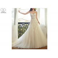 Wholesale Waist Beading Tulle A Line Bridal Gowns , Foliage Lace Strapless Wedding Gown from china suppliers