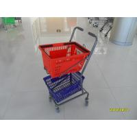 Wholesale Red / Blue Supermarket Shopping Trolley With 4 Swivel 3 Inch PVC Casters from china suppliers