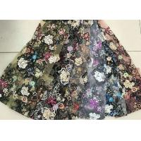 Wholesale Multi Color Embroidered 3D Flower Lace Fabric / Fabric , Bead Lace Tulle For Dress from china suppliers