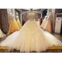 Wholesale Comfortable Strapless Ladies Bridal Gown Cream Princess Long Tulle Tail from china suppliers