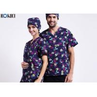 Wholesale V Neck Printing Medical Scrubs Uniforms Uniforms Short Sleeve Tee from china suppliers