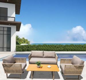 China Waterproof Rattan Garden Furniture Corner Sofa Dining Set For Leisure Area on sale