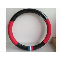 Wholesale Fashion Carbon Fiber Leather Car Steering Wheel Cover Black And Red Color from china suppliers