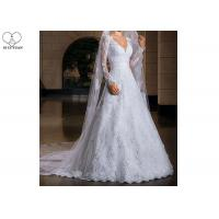 Wholesale Long Tail A Line Bridal Gowns , Long Sleeve Lace Wedding Gown V Neck With Beads from china suppliers