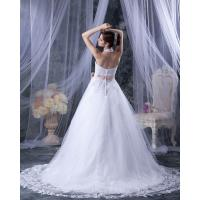Fashion appliques around the neck v neck wedding dresses for Around the neck wedding dresses