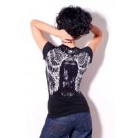 Wholesale Womens bling bling tshirt angels wings printing and stones for summer from china suppliers