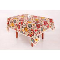 China Sun Flower Pattern Custom Printed Tablecloths With Elegant Lace Trim on sale