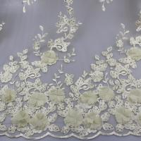 Wholesale 3D Floral Lace Fabric With Beaded Embroidered Polyester Fiber For Party Gowns from china suppliers