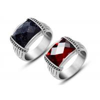 Wholesale Mens Stainless Steel Rings Agate Silver Vintage Style Rings With Black Stone from china suppliers