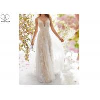 Wholesale Sexy A Line Bridal Gowns / Sling Beige Deep V Neck Wedding Gown Laces Beading from china suppliers