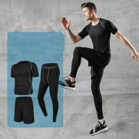 Wholesale Men's Compression Pants Top Short Sleeve Sports Suit Running Wear from china suppliers