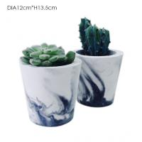 Wholesale Tall Cylinder Concrete Plant Pots Custom Logo Marble Effect OEM / ODM from china suppliers