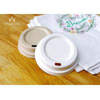 Wholesale Compostable Bagasse Lids , Takeaway Cup Lids Natural / White Color from china suppliers