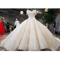 Wholesale Champagne Off Shoulder Wedding Gown , Big Ball Gown Dresses Beaded Tassels from china suppliers