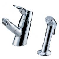 Quality Sink Mounted Brass Two Hole Bathroom Faucet , Unique Pull Out Shower Tap for sale