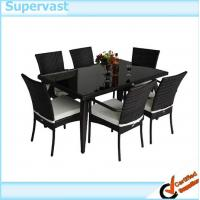 Modern wicker conversation set 7 pc resin wicker patio for Modern wicker dining chairs