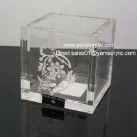 Wholesale Plexiglass Sticking Acrylic Bathroom Accessories / Cotton Bud Box With Laser Engraved Logo from china suppliers
