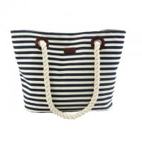 Wholesale Custom Striped Ladies Canvas Tote Bags with Leather Handle / Canvas Weekend Travel Bag from china suppliers