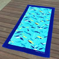 Wholesale Blue Fish Printed Beach Towels 100% Combed Cotton Fabric Quick Dry from china suppliers