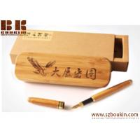 Wholesale Large-capacity wooden pencil case  polished by hand custom engraving printing logo advertising promotional gift from china suppliers