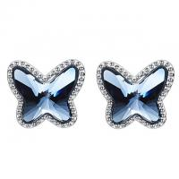 Buy cheap Luxury 925 Sterling Silver Earrings Classic Style With Blue Crystals from wholesalers