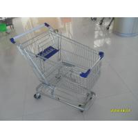 Wholesale 100L Low Tray Supermarket Shopping Trolley Zinc Plated  With Blue Baby Seat from china suppliers