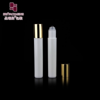 Wholesale Round shape plastic cosmetic perfume white color 15ml roller ball bottle from china suppliers