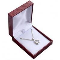 China Red Leatherette Jewelry Pendant Box , White Insert Small Plastic Boxes For Jewellery on sale