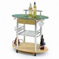 oval shaped design kitchen cart trolley with wire shelf and wine rack of item 97724426. Black Bedroom Furniture Sets. Home Design Ideas