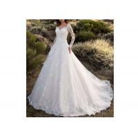 Wholesale Long Sleeve Backless Flower Lace Ball Gown Wedding Dress With Long Tail Off White Color from china suppliers