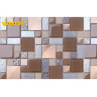 China Heat Insulation Mesh Mounted Kitchen Mosaic Tiles / 8mm Thickness Glass Metal Tile on sale