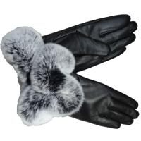 Wholesale New Collection Fashion Genuine leather Rex Rabbit Fur Cuff Wool Lined Sheepskin Ladies Dress Gloves from china suppliers