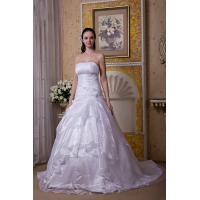 Wholesale 2013 Hot Seller Strapless White Organza Sweep Train Wedding Bridal Gown With Flower from china suppliers