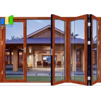 Wholesale Exterior Windproof Aluminum Double Tempered Glass Patio Folding Door from china suppliers