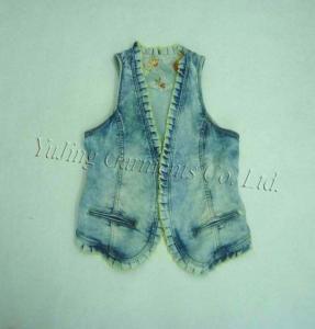 China Women's Fashion Lace Tie-dye Denim Vest on sale