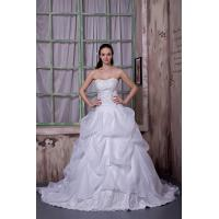 Wholesale Sexy Strapless White Long Organza Wedding Dress Bridal Gown With Lace from china suppliers