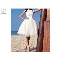 Wholesale Off White Short Fitted Wedding Dress Sleeveless Top Satin Tulle Hems Back Zipper from china suppliers