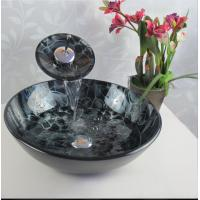 Wholesale bathroom lavabo colorful tempered glass basin and faucet sets from china suppliers