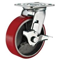 Wholesale Lockable Industrial Trolley PU Caster Wheel With Plate Fitting 4 Inches from china suppliers