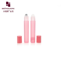 Buy cheap Empty cosmetic round shape pink color 15ml plastic roll on bottle from wholesalers