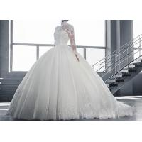 Wholesale High Collar Long Sleeve Winter Wedding Dresses / Zipper Big Beaded Ball Gown from china suppliers
